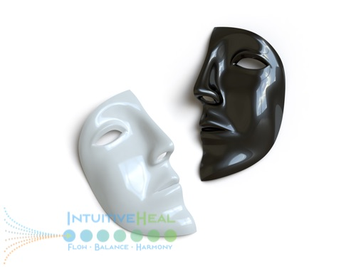 Photo of a black half mask and a white half mask