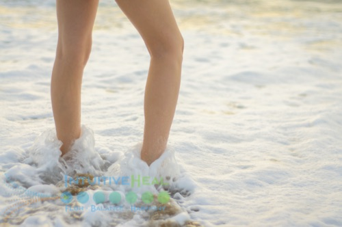 Photo of legs in the surf