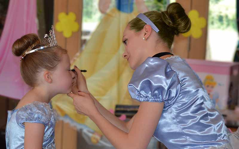 Cinderella Makeover party applying make-up