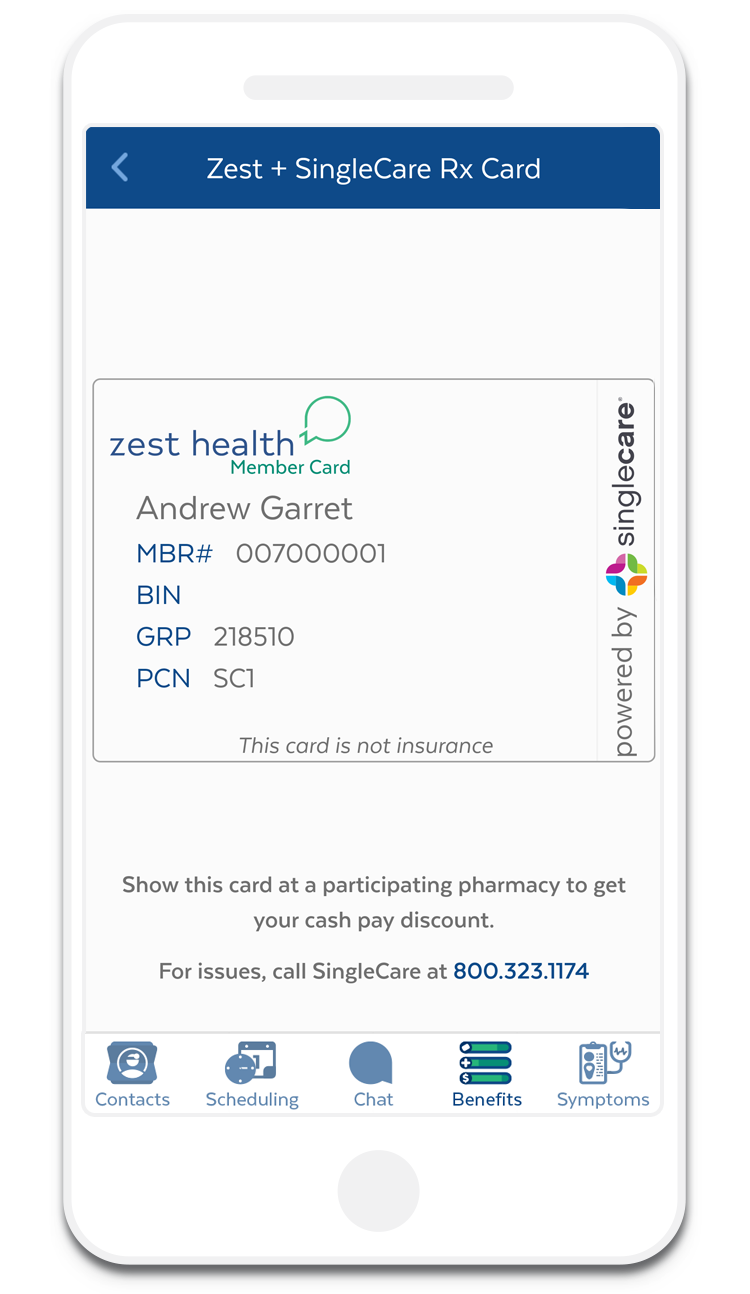 show your singlecare card in your zest app at the pharmacy to get the cash pay discount - Singlecare Prescription Card