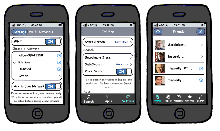Mobile ux examples on mobile iphone