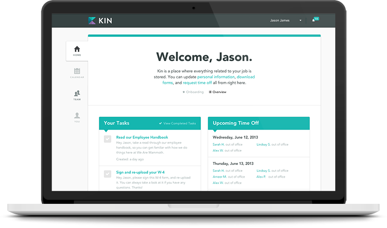 welcome screen for a Saas app