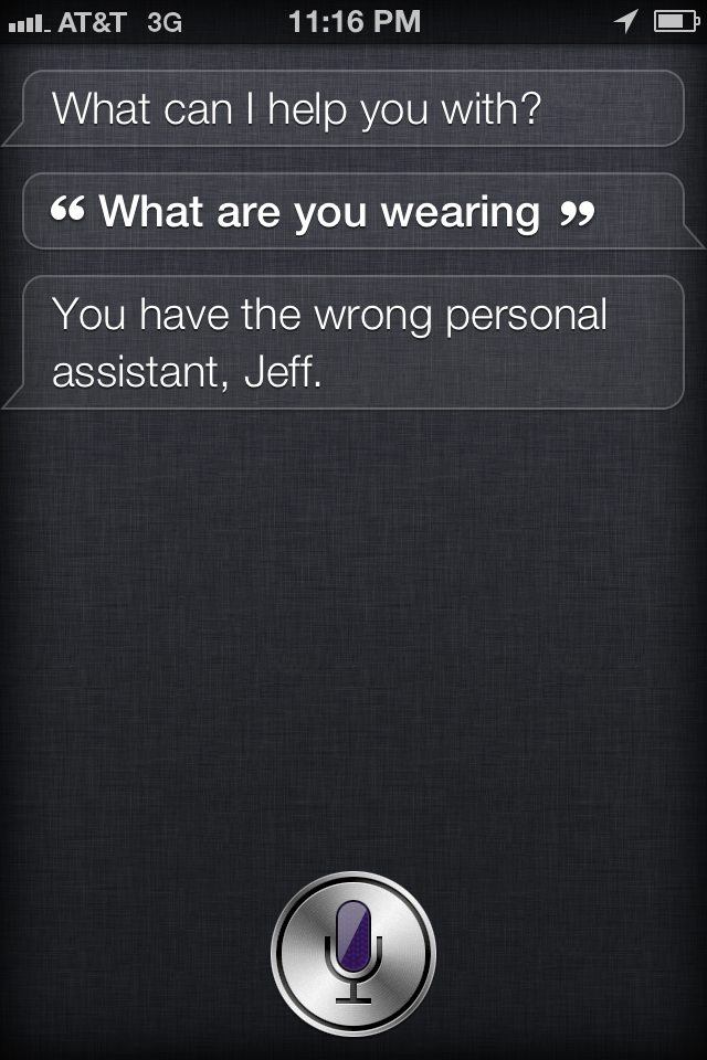 siri being asked what she is wearing
