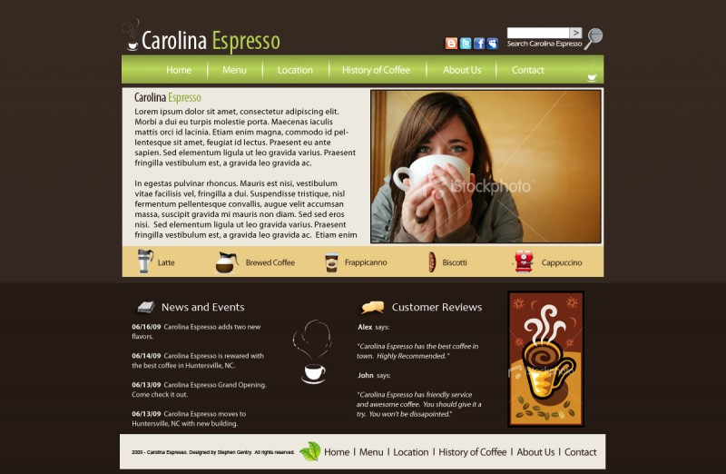 cafe wireframe with a stock image of woman drinking coffee