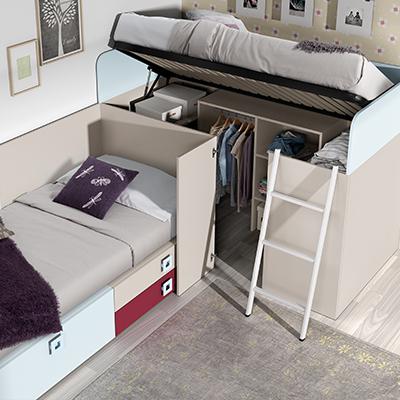 Affordable Habitacin Juvenil Dos Camas Elevable With Habitacion Juvenil Dos  Camas