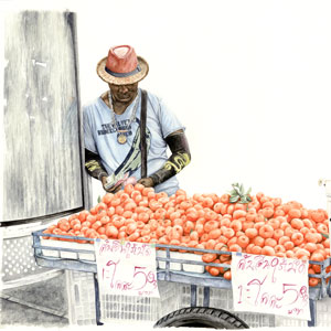 Watercolour of street seller