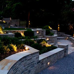 Elegant garden at night