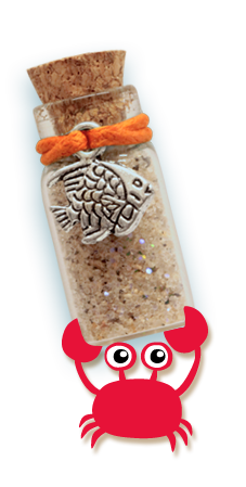 cartoon crab holding tropical fish sand bottle necklace