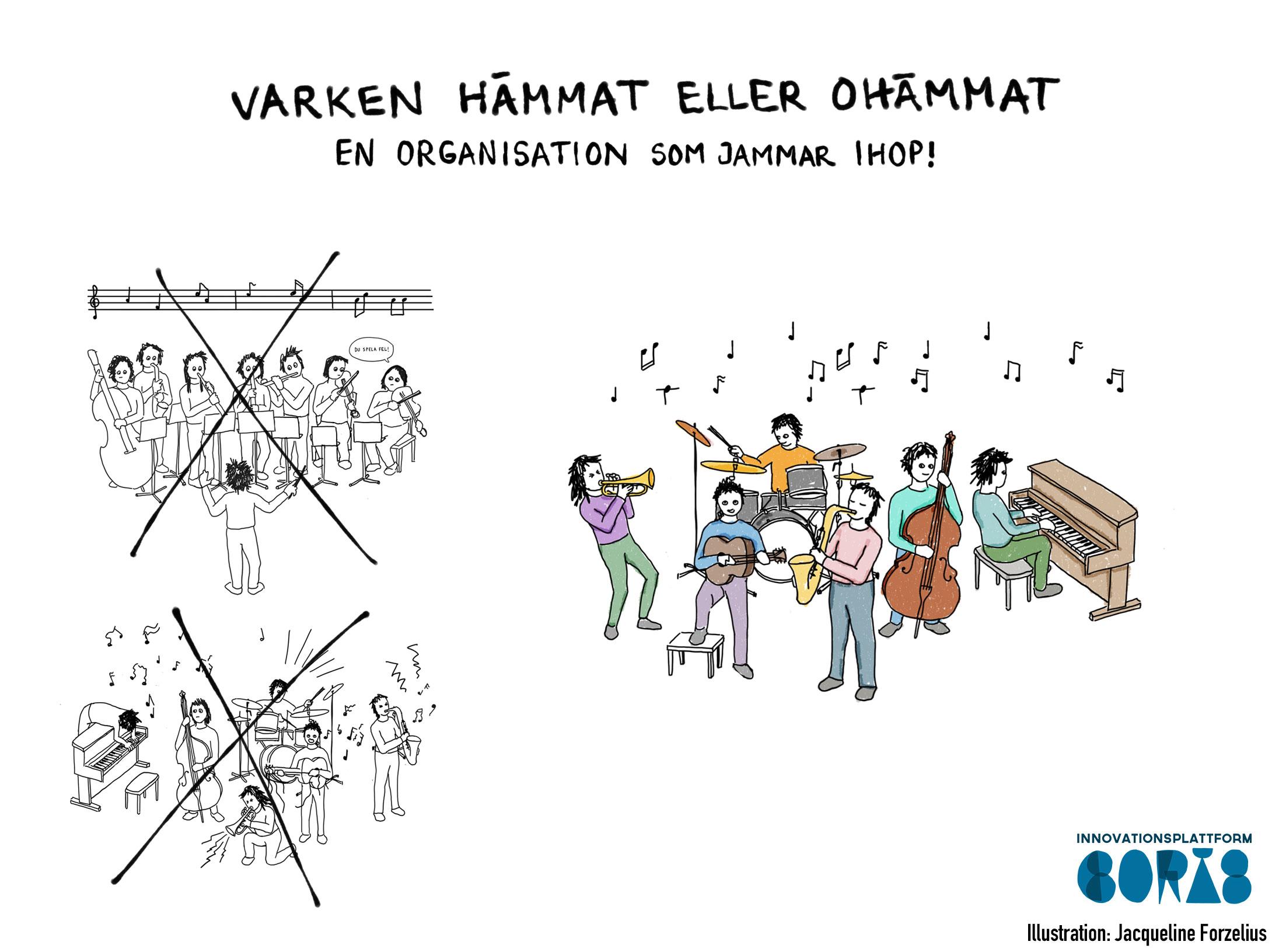 Illustration av orkester med rubriken Varken hämmat eller ohämmat - en organisation som jammar ihop