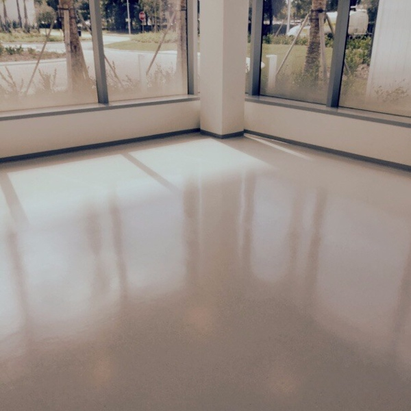 Commercial floor after being stripped and waxed.