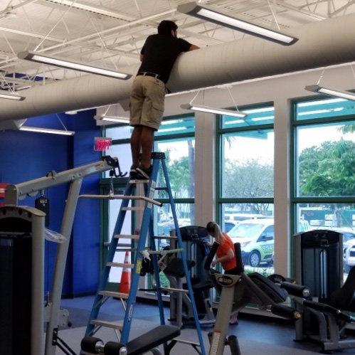 Facility maintenance performed in a gym in Fort Lauderdale.