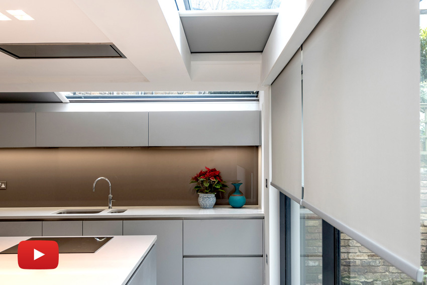 Concealed blinds in London kitchen extension.