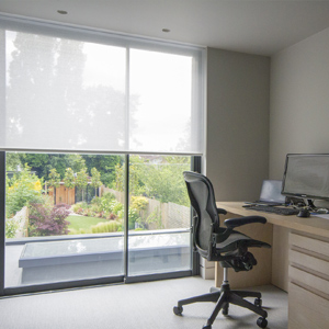 Hidden blinds in slimline glazing