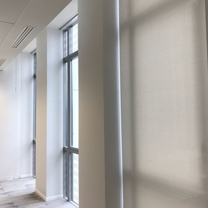 Hidden blinds in floor-to-ceiling glazing