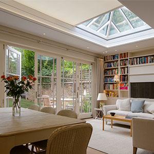 Hidden skylight blind in Vale Garden House