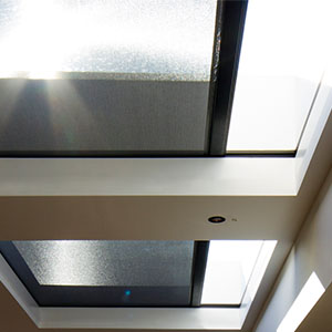 Skylight blinds with black hardware