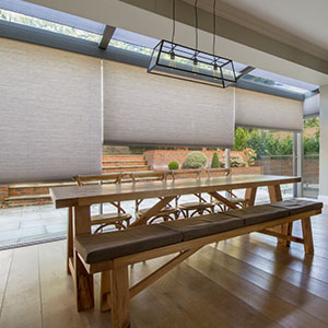 Cellular blinds in minimal glazing