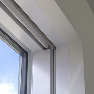 Close-up of dual roller blinds