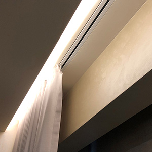 Recessed curtain tracks from Somfy, Lutron and Silent Gliss