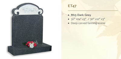 M13 dark grey headstone