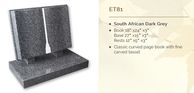 south african dark grey headstone