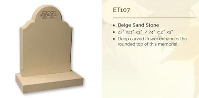beige sand stone headstone
