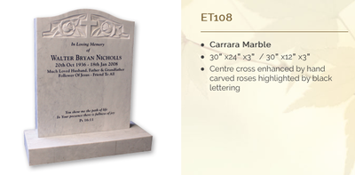 carrara marble headstone
