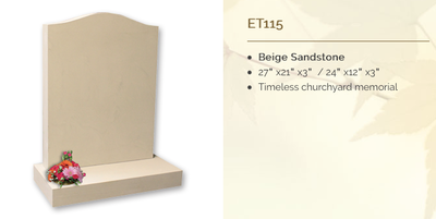 beige sandstone headstone