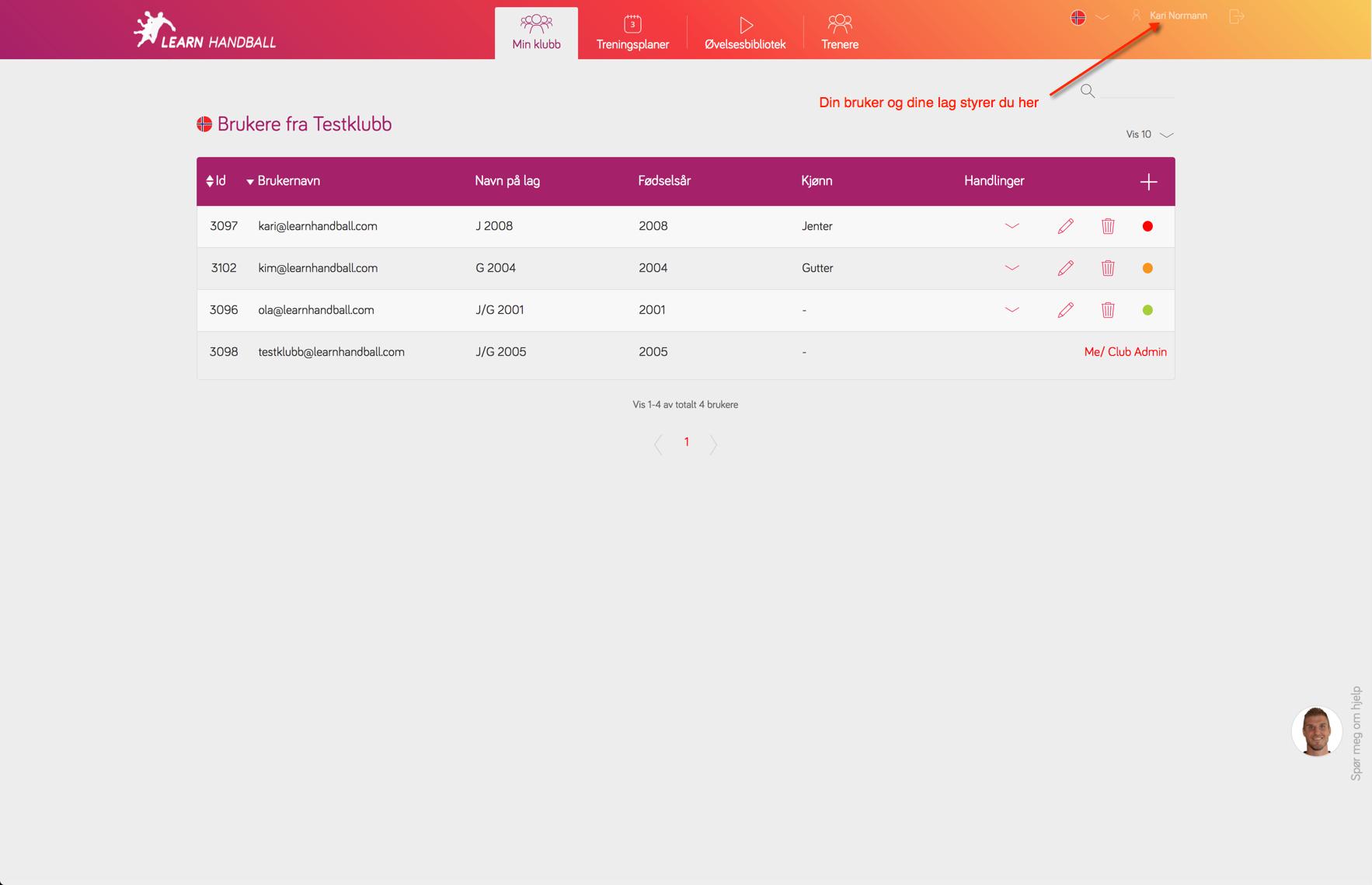 Innstillinger for klubbadministrator | Learn Handball
