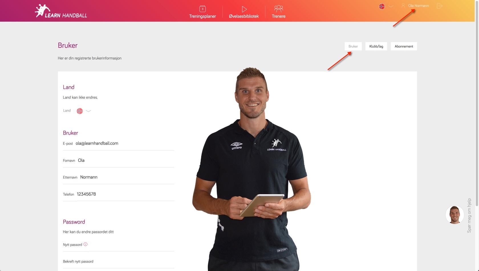 Innstillinger for bruker   Learn Handball