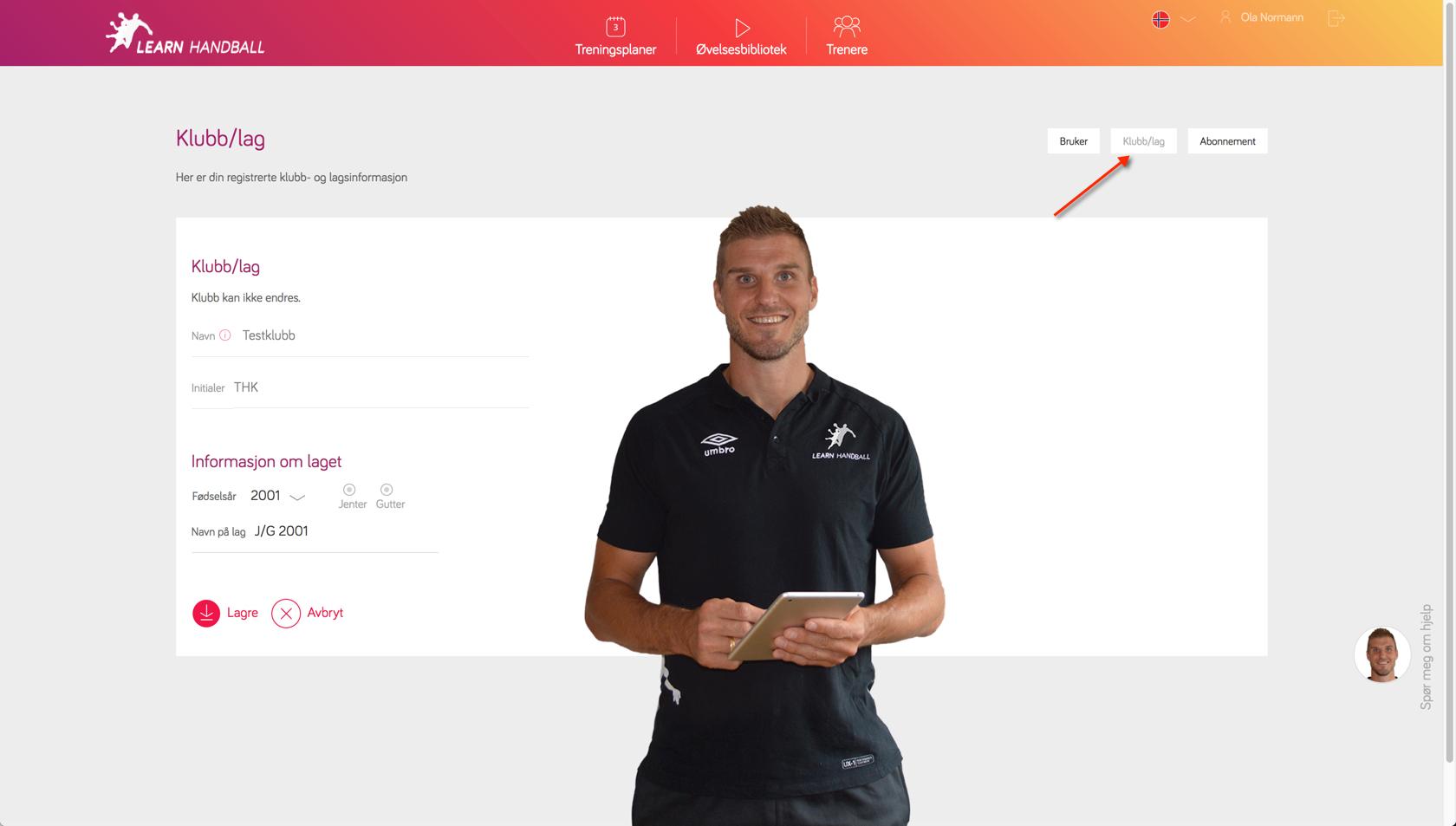 Innstillinger for klubb / lag   Learn Handball
