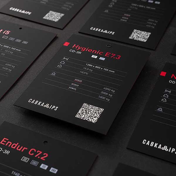 Design der Produkt-Etiketten mit technischen Daten