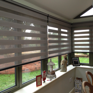 beige vision blinds fitted into conservatory