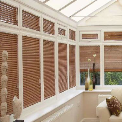 wood effect aluminium venetian perfect fit blinds