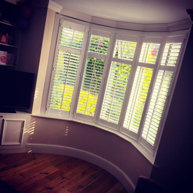 plantation shutters fitted to dining room