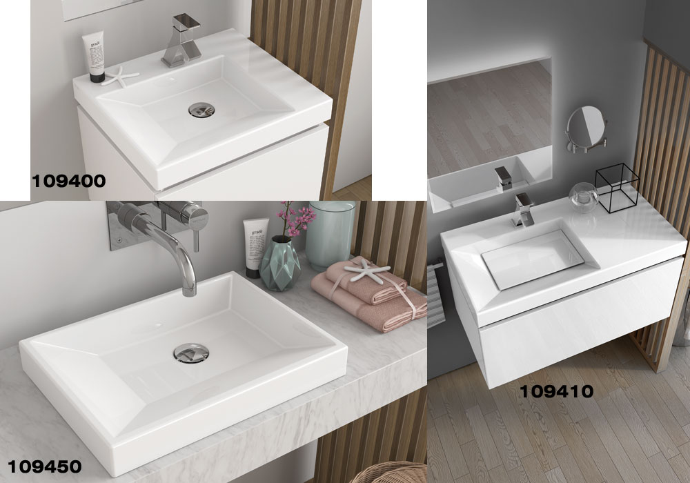 Vista Range of Wash Basins, Cover Plate Available for All Models