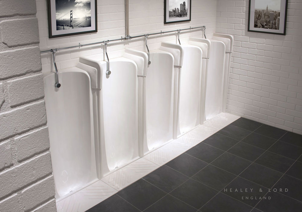 Traditional Niagara Urinals Fused Together in a Row