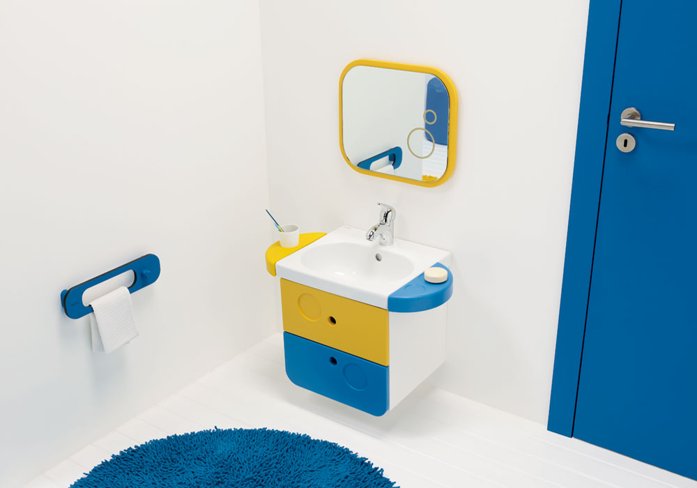 Junior 2 Washbasin with Drawers, Towel Rail & Mirror