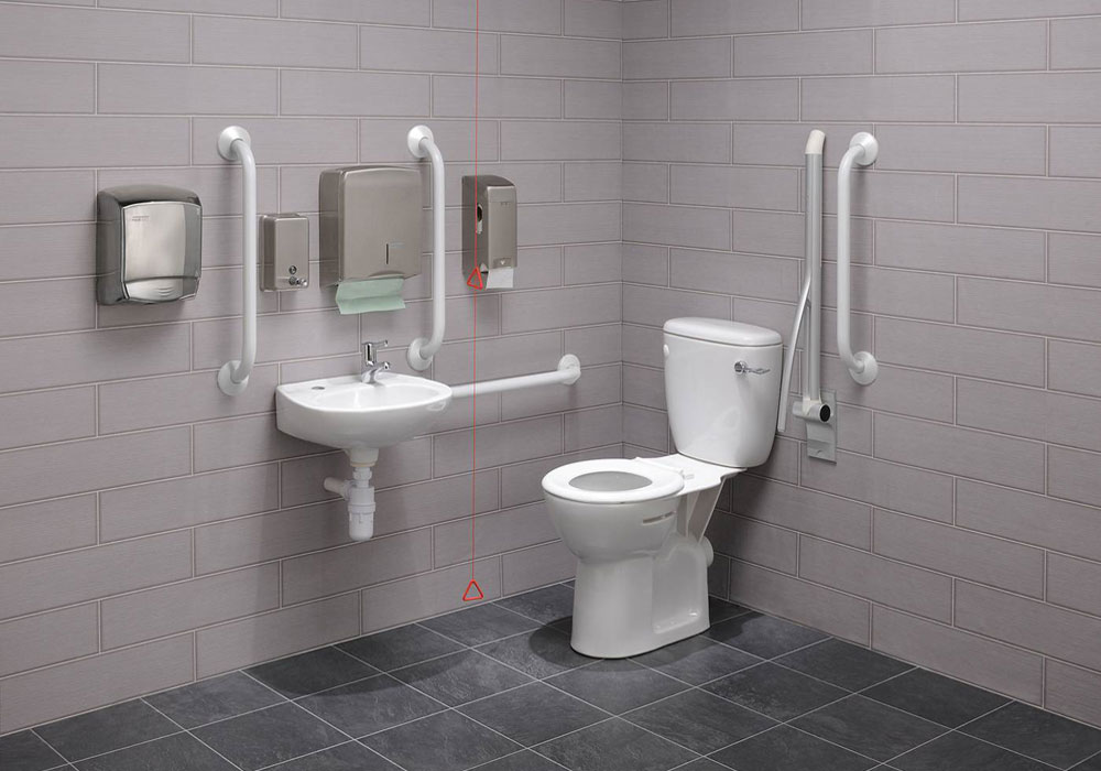 Zero 100 Economy Close Coupled Disabled Toilet Pack with Silver / White Rails
