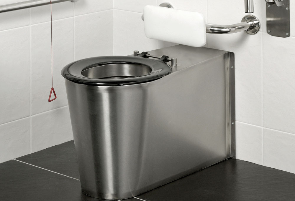 Armourlight Stainless Steel Anti Vandal Back-to-Wall Disabled Toilet