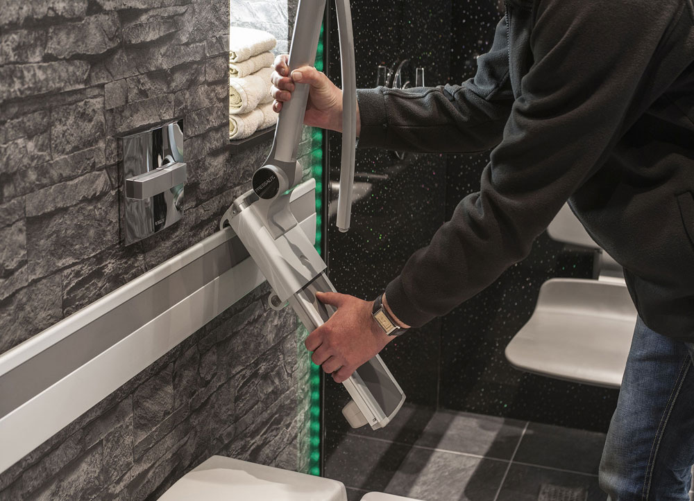Support Rails & Shower Seat Easily Detached & Re-attached