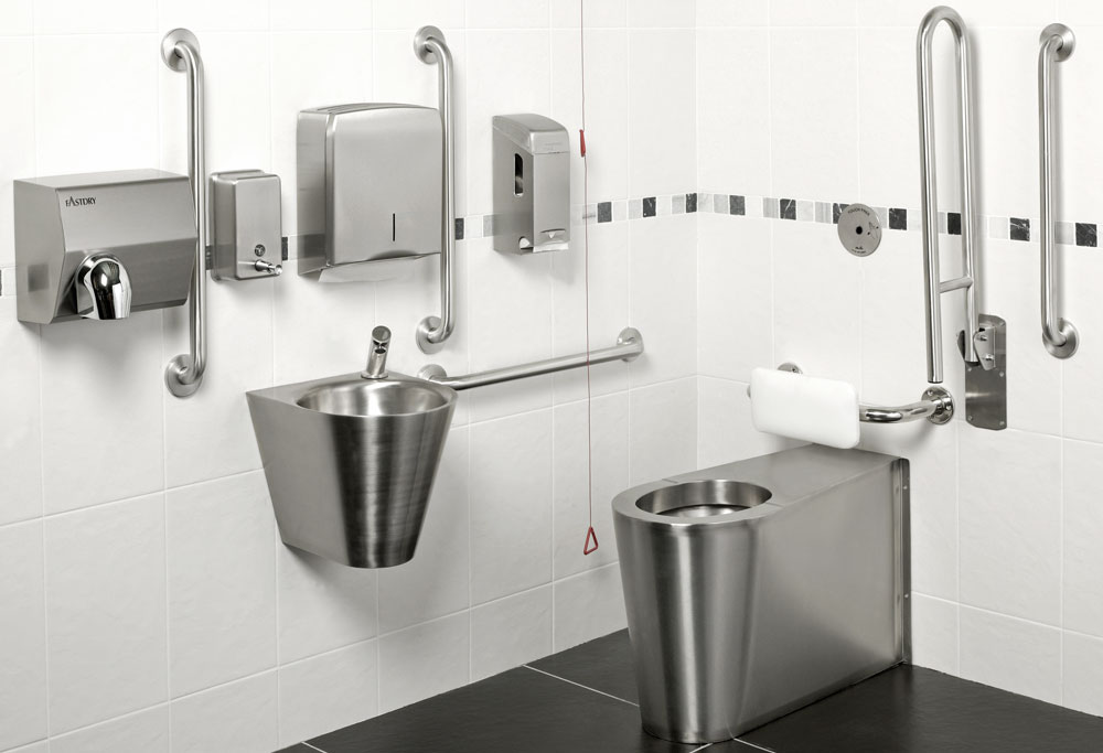 Armourlight Stainless Steel Doc M Pack, Push Controls, Back-to-Wall Toilet