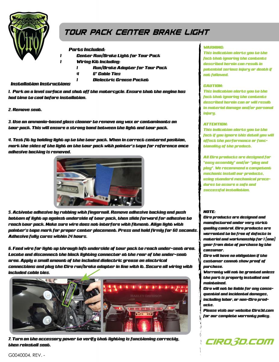 Astonishing Center Brake Light For Tour Pak 99 95 Wiring Database Gramgelartorg