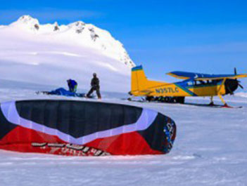 Snow Kite and Plane on Glacier