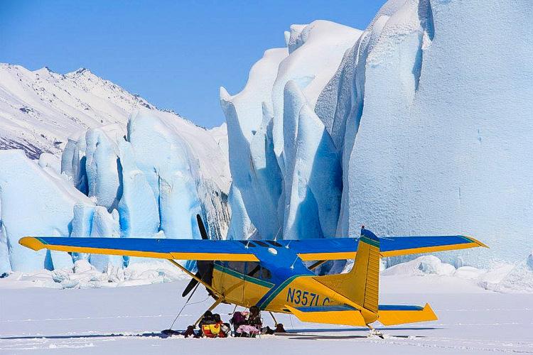 Ski Plane Glacier Ice Wall