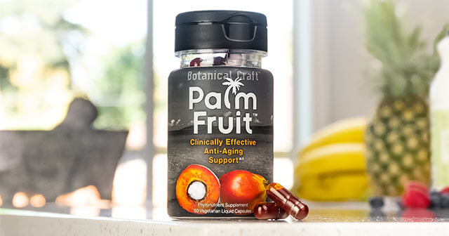 Palm Fruit liquid capsule bottle and capsules on counter top
