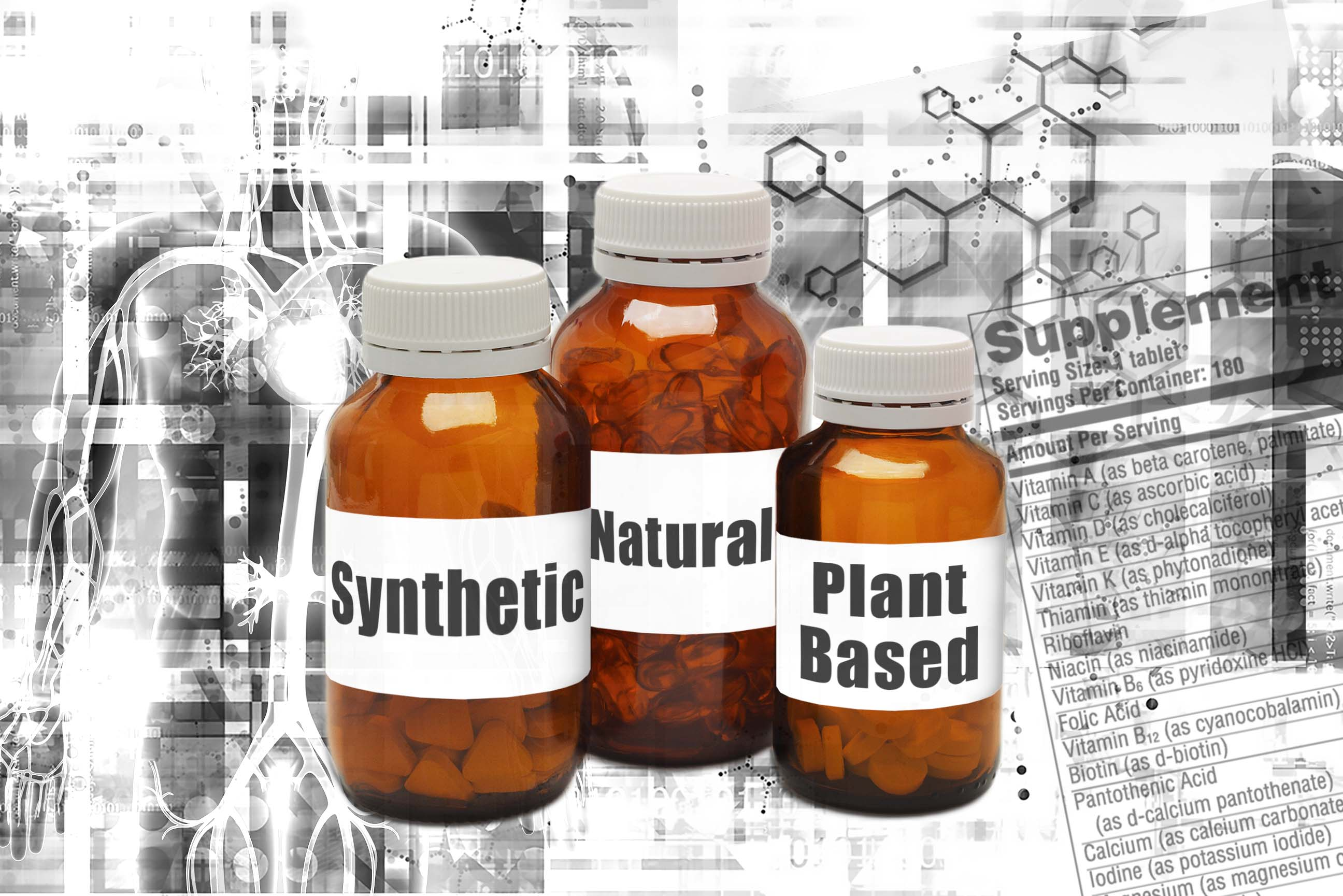 Glass amber bottles containing synthetic, natural, and plant-based vitamins over background of supplement facts and anatomical figure.