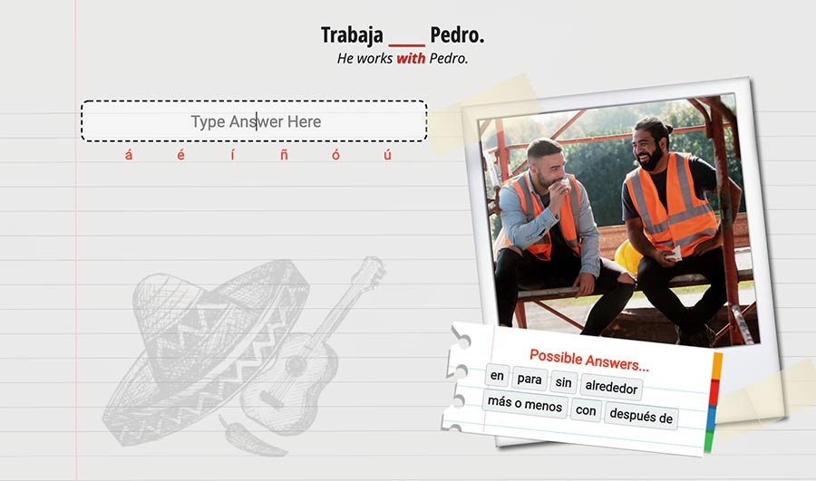 Ouino Spanish exercise example