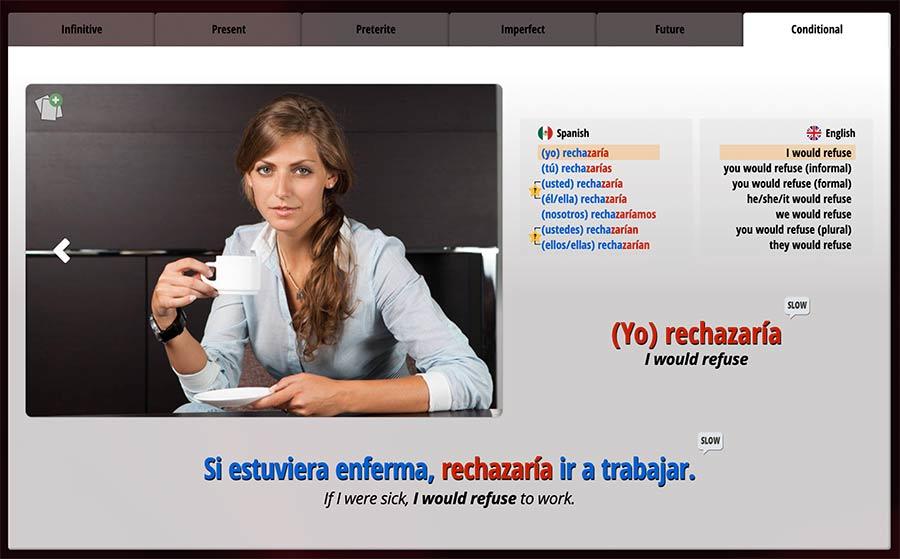 Ouino Spanish verb lesson screenshot