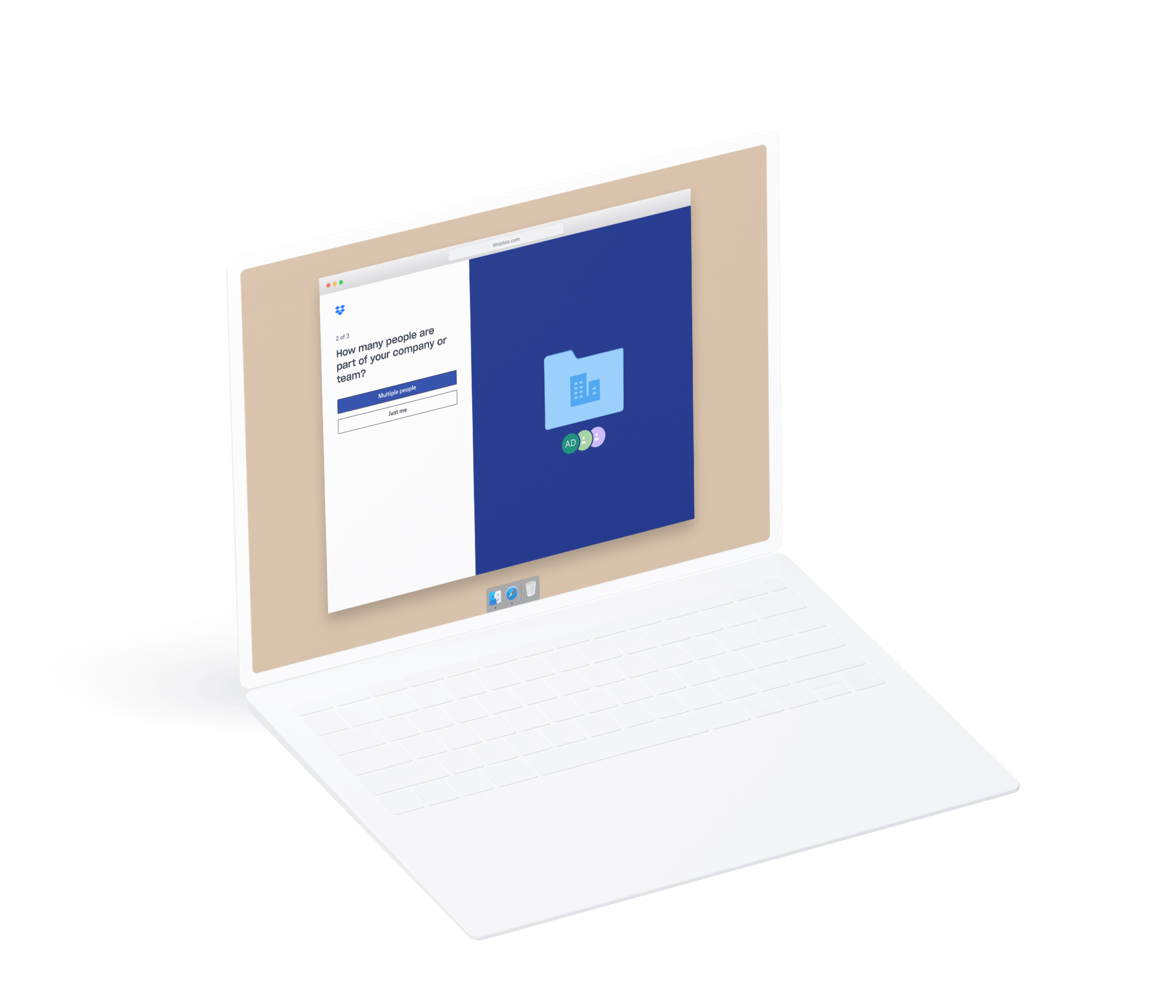 Laptop mockup showing the New Dropbox Business Onboarding UI